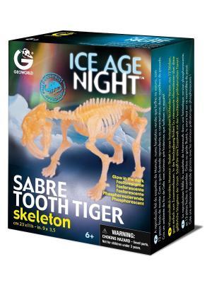 Сборная модель светящаяся Скелет Саблезубого тигра Geoworld. Цвет: бежевый, голубой, желтый, зеленый, коричневый, светло-бежевый, темно-бежевый
