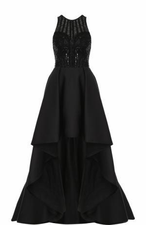 Приталенное платье-макси асимметричного кроя Zuhair Murad. Цвет: черный