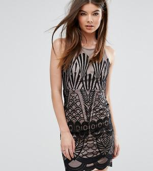 Love Triangle Платье мини с кружевной отделкой. Цвет: черный