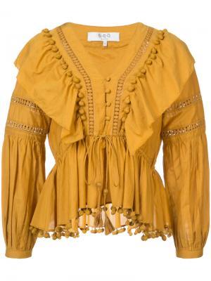Блузка с отделкой из рюшей Sea. Цвет: жёлтый и оранжевый