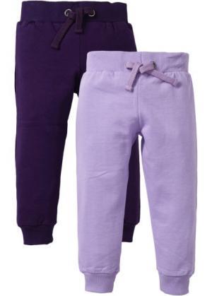 Трикотажные брюки (2 шт.) (сиреневый + темно-лиловый) bonprix. Цвет: сиреневый + темно-лиловый