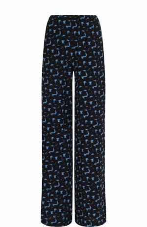 Шелковые расклешенные брюки с принтом Marni. Цвет: синий