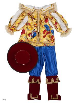 Карнавальный костюм Кот в сапогах сказочный Батик. Цвет: синий, желтый, красный