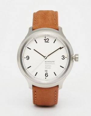 Mondaine Часы с коричневым кожаным ремешком и корпусом 43 мм Helvetica. Цвет: коричневый