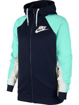 Толстовка W NSW HOODIE FZ PK CB Nike. Цвет: синий