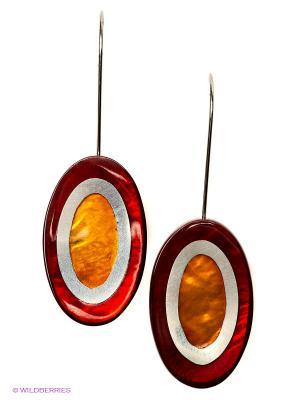Серьги Culture Mix. Цвет: бордовый, коричневый, оранжевый