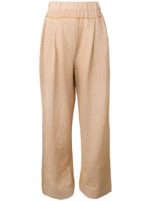 Прямые брюки с заниженным шаговым швом Boboutic. Цвет: коричневый