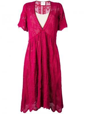 Расклешенное платье c V-образным вырезом Forte. Цвет: красный