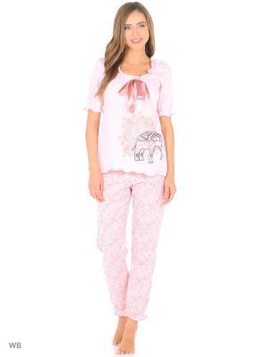 Домашний костюм-футболка, брюки NAGOTEX. Цвет: розовый