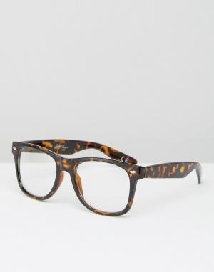 Jeepers Peepers Черепаховые очки с прозрачными стеклами. Цвет: коричневый