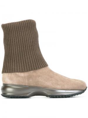 Ботинки на подошве с эффектом металлик Hogan. Цвет: коричневый