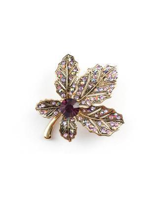Брошь Miss Bijou. Цвет: сливовый, светло-зеленый, лиловый, фиолетовый, розовый, золотистый