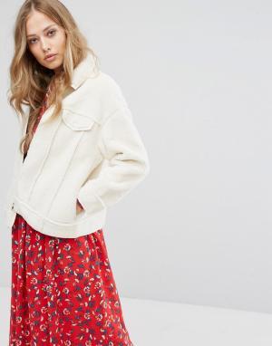 Suncoo Куртка с отделкой под овечью шерсть. Цвет: белый