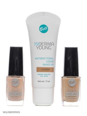 Bell Товар Спайка флюид derma young foundation т4, лак для ногтей glam wear nail т441+т401. Цвет: темно-бежевый, розовый