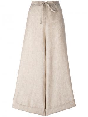 Широкие укороченные брюки Daniela Gregis. Цвет: телесный