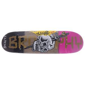 Дека для скейтборда  Brophy by Dressen-directional R7 32 x 8.6 (21.8 см) Cliche. Цвет: черный,фиолетовый,серый