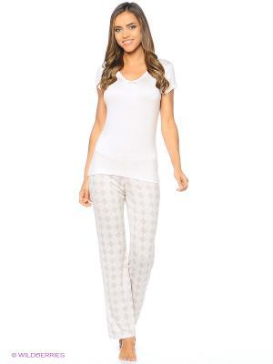 Комплект (брюки пижамные, майка) ASOLINDA. Цвет: розовый, коричневый
