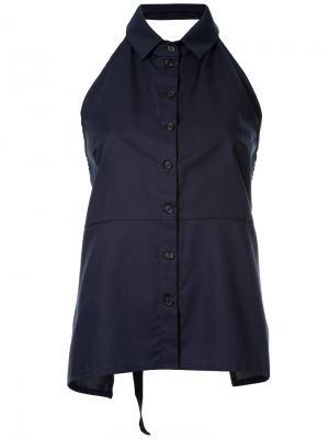 Рубашка с вырезом-халтер на пуговицах Zambesi. Цвет: синий