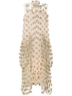 Длинное платье с цветочными элементами Simone Rocha. Цвет: металлический
