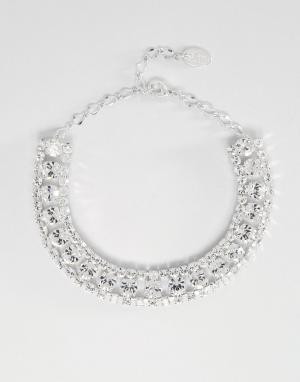 Krystal Каскадное ожерелье-чокер с кристаллами Swarovski от. Цвет: серебряный