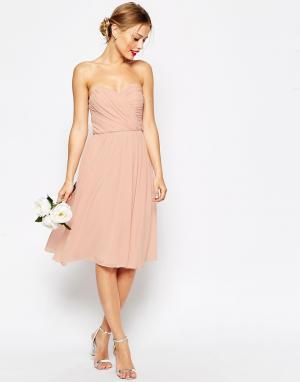 ASOS Шифоновое платье‑бандо миди WEDDING. Цвет: темно-синий