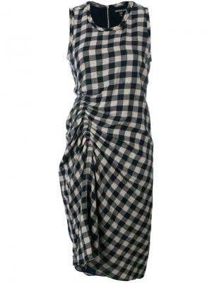 Платье в клетку со сборками James Perse. Цвет: синий