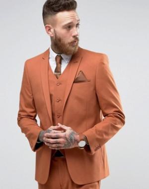 ASOS Красно-оранжевый пиджак скинни. Цвет: рыжий