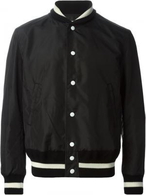Куртка-бомбер с белой окантовкой Patchy Cake Eater. Цвет: чёрный