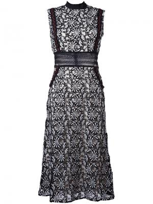 Платье с цветочным узором Self-Portrait. Цвет: чёрный