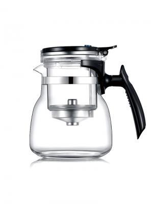Чайник заварочный Veitron Full Glass GY-800 с кнопкой, со съемной колбой для заваривания, 800 мл. Цвет: черный, прозрачный