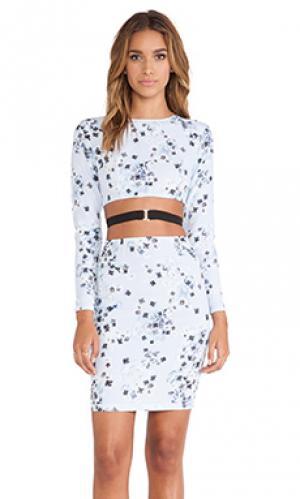 Мини-платье с длинным рукавом flame May.. Цвет: синий