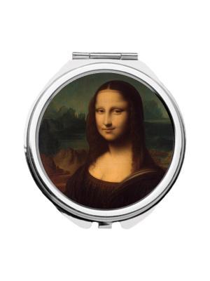 Зеркальце карманное Мона Лиза Chocopony. Цвет: темно-коричневый, бежевый, темно-зеленый
