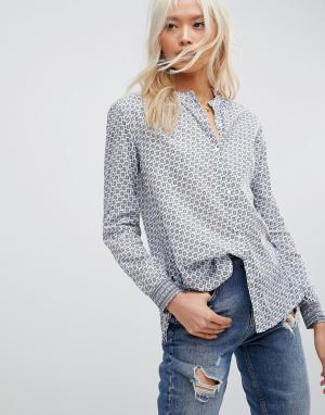 Maison Scotch Рубашка без воротника. Цвет: синий