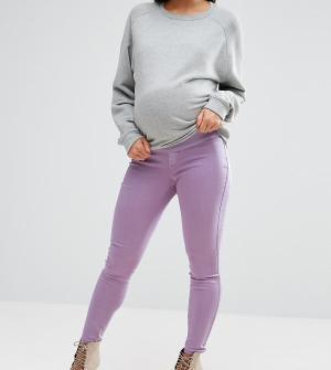 ASOS Maternity Сиреневые выбеленные джеггинсы с завышенной талией RIVI. Цвет: фиолетовый