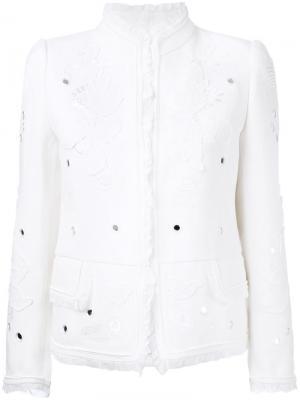 Декорированный пиджак Roberto Cavalli. Цвет: белый