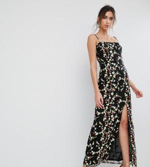 True Violet Платье макси с разрезом и вышивкой. Цвет: черный