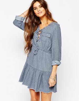 Somedays Платье из шамбре цвета индиго Lovin Undercover. Цвет: синий