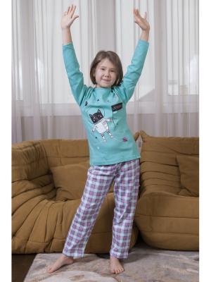 Пижама для девочек Oztas kids' underwear. Цвет: бирюзовый, розовый