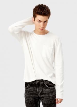 Джемпер с карманом OSTIN. Цвет: белый