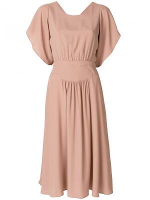 Платье миди с вырезом на спине Nº21. Цвет: телесный