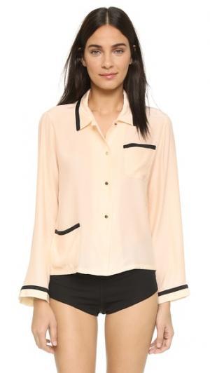 Пижамная рубашка со смайлами от Alison Lou Morgan Lane. Цвет: золотой