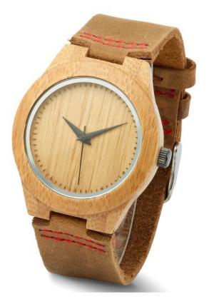 Наручные часы с деревянным корпусом и кожаным браслетом (коричневый) bonprix. Цвет: коричневый