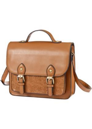 Сумка-портфель с ремнем через плечо (коричневый) bonprix. Цвет: коричневый