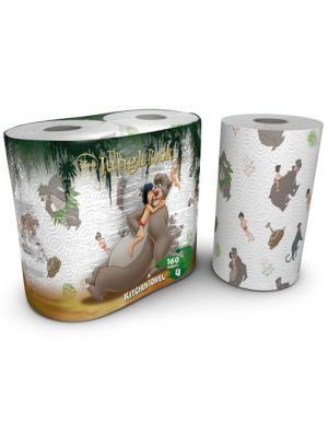 Полотенца кухонные Книга Джунглей 3-х слойные с рисунком, 2 рулона по 80 листов, 18.4 м World Cart. Цвет: белый