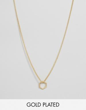 Pilgrim Позолоченное ожерелье с шестиугольной подвеской. Цвет: золотой