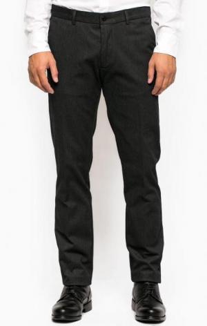 Темно-серые зауженные брюки из хлопка и полиэстера Gant. Цвет: серый