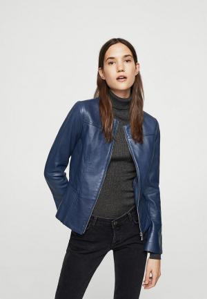 Куртка кожаная Mango. Цвет: синий