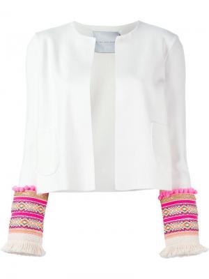 Пиджак с вышивкой на рукавах Giada Benincasa. Цвет: белый