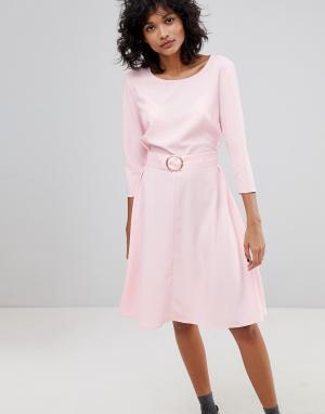 2nd Day Платье миди с поясом и пряжкой-кольцом 2NDDAY. Цвет: розовый