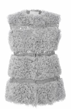 Жилет из меха ягненка с кружевными вставками Valentino. Цвет: голубой
